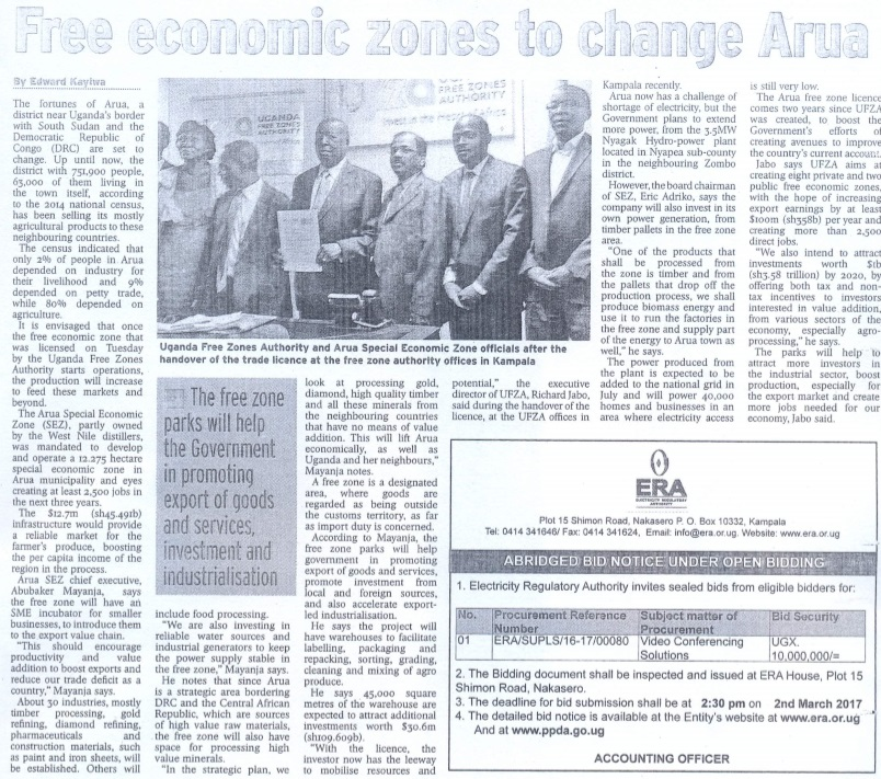 Arua Free Zones Article1